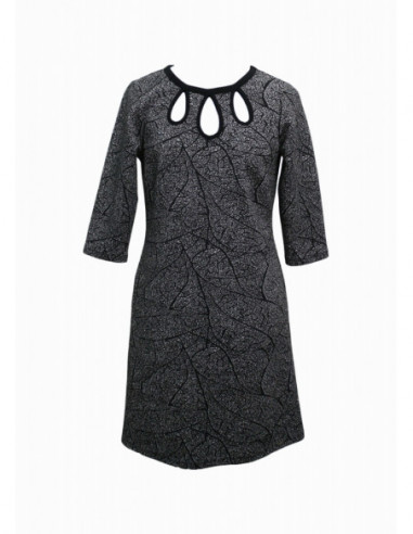 FANY-ROBE-JACQUARD FEUILLES